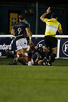 TRY - Billy Harding of London Scottish scores during the Greene King IPA Championship match between London Scottish Football Club and Nottingham Rugby at Richmond Athletic Ground, Richmond, United Kingdom on 7 February 2020. Photo by Carlton Myrie.