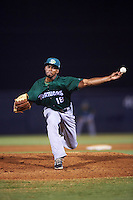Daytona Tortugas relief pitcher Juan Martinez (18) during a game against the Tampa Yankees on August 5, 2016 at George M. Steinbrenner Field in Tampa, Florida.  Tampa defeated Daytona 7-1.  (Mike Janes/Four Seam Images)