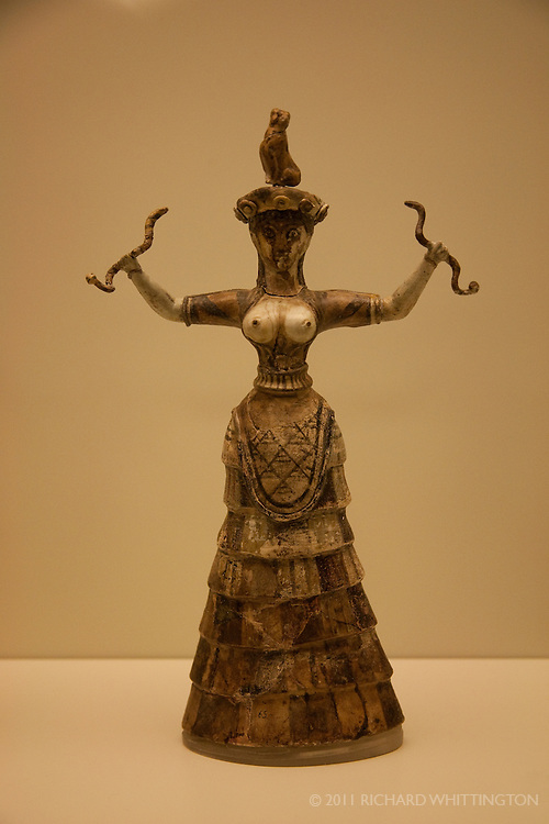 The Snake Goddesses, found in the Irakleio Archaeological Museum, is thought to represent the snake goddess performing religious rituals.