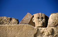 View of The Khephren Pyramid and The Great Sphinx of Giza, Cairo, Egypt.