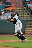Delmarva Shorebirds catcher Adley Rutschman (37) throws down to first base to complete the strikeout during a South Atlantic League game against the Greensboro Grasshoppers on August 21, 2019 at Arthur W. Perdue Stadium in Salisbury, Maryland.  Delmarva defeated Greensboro 1-0.  (Mike Janes/Four Seam Images)