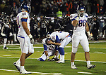 Boise State Broncos kicker Kyle Brotzman reacts after missing a 29 yard field goal attempt during overtime of the NCAA college football game against Nevada Friday night, Nov. 26, 2010, in Reno, Nev. (AP Photo/Cathleen Allison)