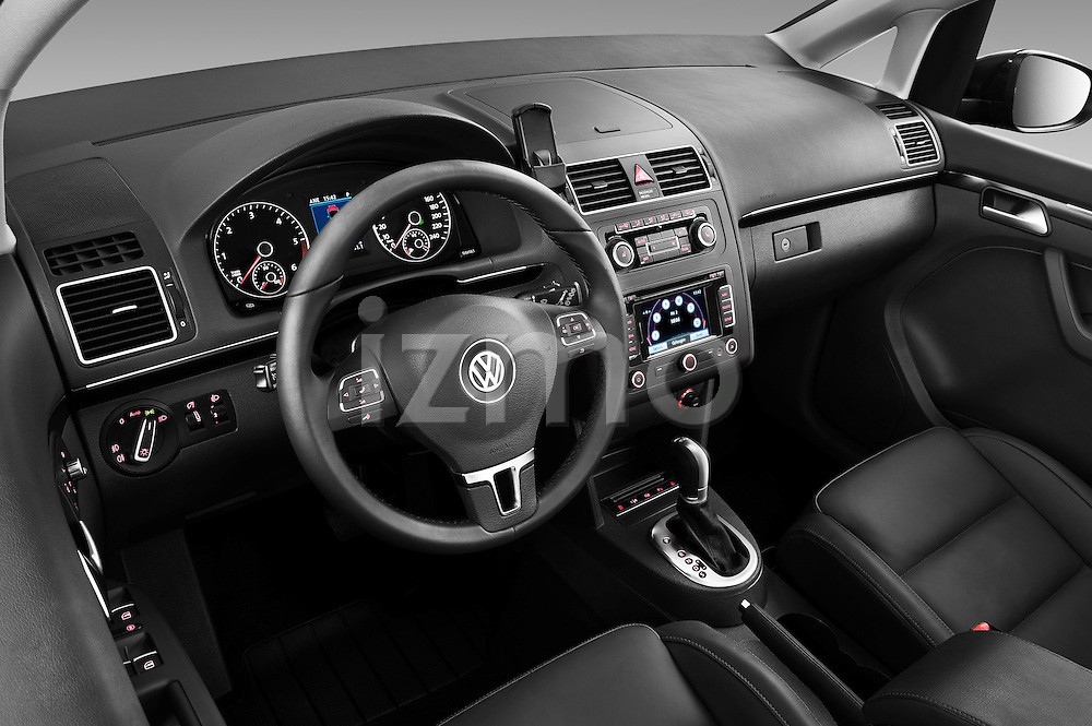 High angle dashboard view of a 2010 Volkswagen Touran Highline 5 Door Mini MPV
