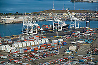 aerial photograph of cranes unloading the Fesco container ship at the Port of Oakland, Oakland, California