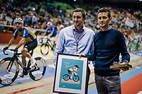 local hero Tiesj Benoot (BEL/Lotto-Soudal) is greated by the velodrome crowd (while Mark Cavendisch rides by) as he gets a 'goodbye' gift from his current team (Lotto-Soudal) as he is moving on next (road) season to Team Sunweb.<br /> <br /> <br /> zesdaagse Gent 2019 - 2019 Ghent 6 (BEL)<br /> day 2<br /> <br /> ©kramon