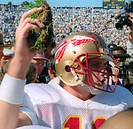 FSU quarterback Casey Weldon with a piece of sod in Ann Arbor Michigan after the Seminoles dismantled 3rd ranked Michigan 51-31 in front of 106,000 Wolverine fans Sept 28, 1991. Going into the season ranked #1, the Seminoles finished #4 after loosing back to back late season losses to Miami (wide right 1) and the Florida Gators before beating #9 Texas A&M in the Cotton Bowl.