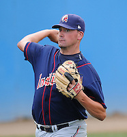 July 17, 2009: RHP Mike McGuire (48) of the Kinston Indians, Carolina League affiliate of the Cleveland Indians, in a game against the Potomac Nationals at G. Richard Pfitzner Stadium in Woodbridge, Va. Photo by: Tom Priddy/MiLB.com
