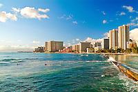 Waikiki hotels and coastline shot from Queens Beach.