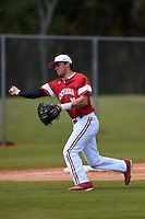 Indiana Hoosiers Austin Cangelosi (18) during practice before a game against the St. Joseph's Hawks on March 7, 2015 at North Charlotte Regional Park in Port Charlotte, Florida.  Indiana defeated St. Joseph's 3-2.  (Mike Janes/Four Seam Images)