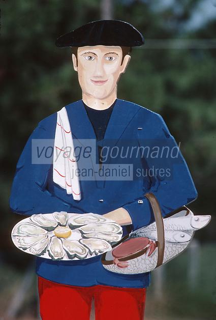 Europe/France/Aquitaine/33/Gironde/Bassin d'Arcachon/Le Cap Ferret: Enseigne d'un restaurant représentant un homme avec poissons et huîtres du Bassin d'Arcachon