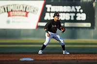 Kannapolis Intimidators second baseman Ramon Beltre (1) on defense against the Hickory Crawdads at Kannapolis Intimidators Stadium on May 6, 2019 in Kannapolis, North Carolina. The Crawdads defeated the Intimidators 2-1 in game one of a double-header. (Brian Westerholt/Four Seam Images)