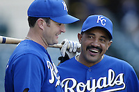 Kansas City Royals Manager Tony Pena shares a laugh with the Royals Mike Sweeney before a 2002 MLB season game against the Los Angeles Angels at Angel Stadium, in Anaheim, California. (Larry Goren/Four Seam Images)