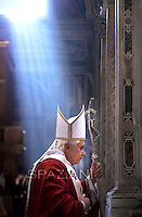 Pope Benedict XVI during the mass in memory of the Cardinals and Bishops  who died during the year on..November 5, 2009..