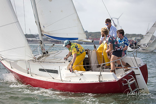 George Radley Jnr's crew were suitably dressed for the conditions on the day in the Sadler 25, Creamy Beam