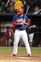 Memphis Redbirds designated hitter Oscar Taveras (15) at bat during a game against the Oklahoma City RedHawks on May 23, 2014 at AutoZone Park in Memphis, Tennessee.  Oklahoma City defeated Memphis 12-10.  (Mike Janes/Four Seam Images)