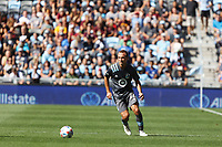ST. PAUL, MN - AUGUST 21: Chase Gasper #77 of Minnesota United FC during a game between Sporting Kansas City and Minnesota United FC at Allianz Field on August 21, 2021 in St. Paul, Minnesota.