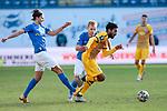 20.02.2021, xtgx, Fussball 3. Liga, FC Hansa Rostock - SV Waldhof Mannheim, v.l. Tobias Schwede (Rostock), Simon Rhein (Rostock), Mohamed Gouaida (Mannheim, 18) Zweikampf, Duell, Kampf, tackle <br /> <br /> (DFL/DFB REGULATIONS PROHIBIT ANY USE OF PHOTOGRAPHS as IMAGE SEQUENCES and/or QUASI-VIDEO)<br /> <br /> Foto © PIX-Sportfotos *** Foto ist honorarpflichtig! *** Auf Anfrage in hoeherer Qualitaet/Aufloesung. Belegexemplar erbeten. Veroeffentlichung ausschliesslich fuer journalistisch-publizistische Zwecke. For editorial use only.