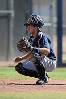 Milwaukee Brewers catcher Milan Post (18) during an Instructional League game against the Seattle Mariners on October 4, 2014 at Peoria Stadium Training Complex in Peoria, Arizona.  (Mike Janes/Four Seam Images)