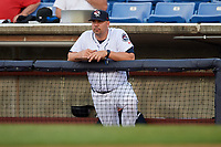 Binghamton Rumble Ponies hitting coach Valentino Pascucci (44) in the dugout during a game against the Altoona Curve on May 17, 2017 at NYSEG Stadium in Binghamton, New York.  Altoona defeated Binghamton 8-6.  (Mike Janes/Four Seam Images)