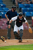Winston-Salem catcher Tyler Reves (17) chases after a wild pitch versus Myrtle Beach at Ernie Shore Field in Winston-Salem, NC, Monday, May 28, 2007.