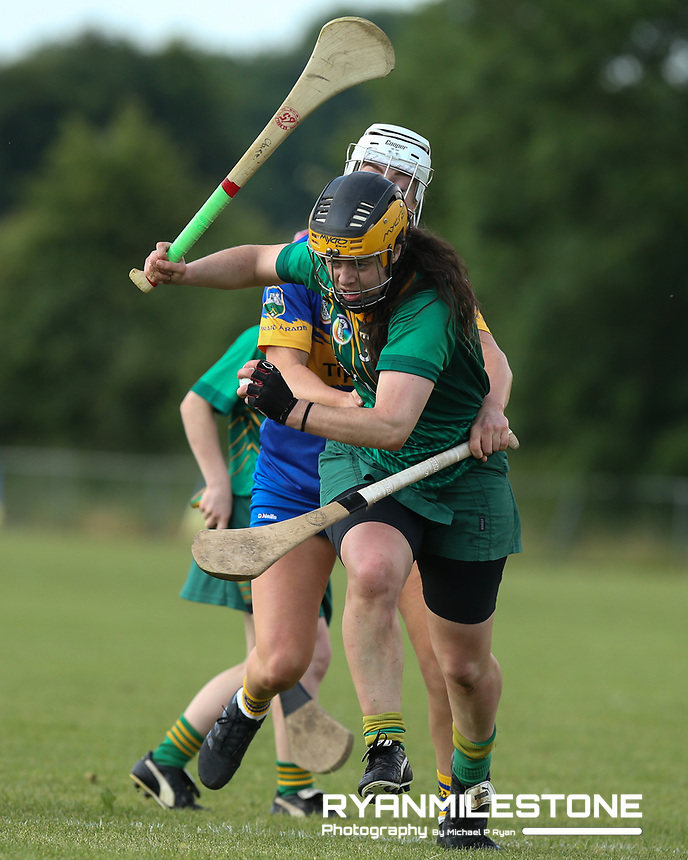 Meath's Claire Coffey in action against Megan Ryan of Tipperary during the Liberty Insurance All Ireland Senior Camogie Championship Round 1 between Tipperary and Meath at the Ragg, Co Tipperary. Photo By Michael P Ryan.