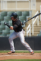 Seamus Curran (34) of the Delmarva Shorebirds follows through on his swing against the Kannapolis Intimidators at Kannapolis Intimidators Stadium on May 19, 2019 in Kannapolis, North Carolina. The Shorebirds defeated the Intimidators 9-3. (Brian Westerholt/Four Seam Images)