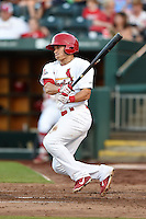 Springfield Cardinals shortstop Greg Miclat (3) at bat during a game against the Frisco Rough Riders on June 1, 2014 at Hammons Field in Springfield, Missouri.  Springfield defeated Frisco 3-2.  (Mike Janes/Four Seam Images)