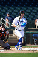 Surprise Saguaros Ryan O'Hearn (21), of the Kansas City Royals organization, during a game against the Peoria Javelinas on October 20, 2016 at Surprise Stadium in Surprise, Arizona.  Peoria defeated Surprise 6-4.  (Mike Janes/Four Seam Images)