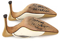 BNPS.co.uk (01202) 558833. <br /> Pic: Ewbank's/BNPS<br /> <br /> Pictured: The soles of both shoes were signed in black felt-tip pen by her before they were given away by a Eastenders costume designer for a charity auction in 2006.<br /> <br /> A pair of designer shoes the late Dame Barbara Windsor wore one set of Eastenders have emerged for sale.<br /> <br /> The size 3 stiletto shoes formed part of the wardrobe of her formidable character Peggy Mitchell on the BBC soap opera.<br /> <br /> As landlady of the Queen Vic, Dame barber would have worn these shoes as she walked up and down the bar yelling at unwanted punters to 'Get Outta My Pub!'