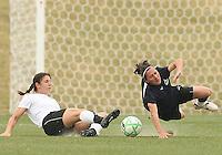 Lisa De Vanna (blue) of the Washington Freedom is tripped by Yael Averbuch  of Sky Blue F.C. during a WPS pre season match at Maryland Soccerplex, in Boyd's, Maryland on March 14 2009. Sky Blue won the match 1-0