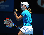 January 26, 2010.Justine Henin of Belgium, in action, defeating Russia's Nadia Petrova 7-6, 7-5 in the quarter final of the Austrain Open, Melbourne Park, Melbourne, Australia