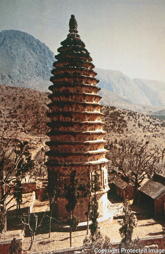 China:  Chinese Architecture--Songyue Monastery Pagoda 523 A.D.  Northern Wei Period. The earliest intact brick building in China.  ANCIENT CHINESE ARCHITECTURE.