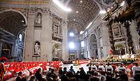 Papa Francesco celebra il Concistoro per la creazione di 20 nuovi cardinali, nella Basilica di San Pietro, Citta' del Vaticano, 14 Febbraio 2015.<br /> Pope Francis celebrates the Consistory for the creation of 20 new cardinals, in St. Peter's Basilica, Vatican, 14 February 2015.<br /> UPDATE IMAGES PRESS/Isabella Bonotto<br /> STRICTLY ONLY FOR EDITORIAL USE