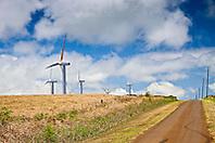 Upolu Airport Road and wind turbines of Upolu Point Wind Farm, Hawi, North Kohala, Big Island, Hawaii, USA