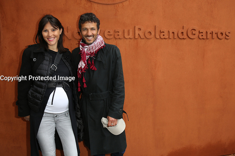 Kamel Belghazi and pregnant girlfriend Marine seen at 'Le Village de Roland Garros' during Roland Garros tennis open 2016 in Paris on June 02 2016.