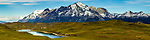 Pre-Andean shrubland, lake, and mountains, Torres del Paine, Torres del Paine National Park, Patagonia, Chile