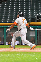 Jon Singleton (21) of the Fresno Grizzlies at bat against the Salt Lake Bees in Pacific Coast League action at Smith's Ballpark on April 13, 2016 in Salt Lake City, Utah. The Grizzlies defeated the Bees 6-0. (Stephen Smith/Four Seam Images)