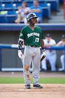 Daytona Tortugas second baseman Shed Long (13) at bat during a game against the Brevard County Manatees on August 14, 2016 at Space Coast Stadium in Viera, Florida.  Daytona defeated Brevard County 9-3.  (Mike Janes/Four Seam Images)
