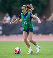 CLEVELAND, OH - SEPTEMBER 14: Kelley O'Hara of the United States dribbles during a training session at the training fields on September 14, 2021 in Cleveland, Ohio.