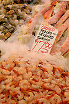 Peeled and deveined shrimp on ice. Pike Place Market, Seattle, WA.