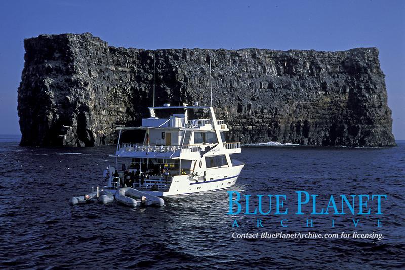 Galapagos Aggressor liveaboard dive boat at Roca Redonda in the Galapagos Islands, Ecuador