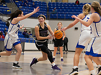 Caroline Lyles (23) of Fayetteville looks for open player against Rogers at King Arena, Rogers, AR January 8, 2021 / Special to NWA Democrat-Gazette/ David Beach