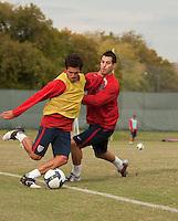 Benny Feilhaber and Carlos Bocanegra. U.S. Men's National Team training at RFK Stadium  Monday October 12, 2009  in Washington, D.C.