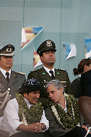 Cochabamba, Bolivia<br /> A picture dated December 9, 2006 shows Bolivian President Evo Morales talking to VIce President Alvaro Garcia Linera during an act in the Stadium in the city of Cochabamba.