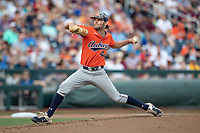 Auburn Tigers pitcher Jack Owen (44) delivers a pitch to the plate during Game 4 of the NCAA College World Series against the Mississippi State Bulldogs on June 16, 2019 at TD Ameritrade Park in Omaha, Nebraska. Mississippi State defeated Auburn 5-4. (Andrew Woolley/Four Seam Images)