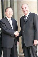 BAN KI MOON, SECRETAIRE GENERAL DES NATIONS UNIES A ETE RECU PAR JACQUES CHIRAC A L'ELYSEE. #