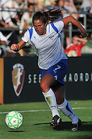 19 July 2009: Christine Latham of the Boston Breakers drives the ball along the touch-line during the game at Buck Shaw Stadium in Santa Clara, California.  The Boston Breakers defeated the FC Gold Pride, 1-0.