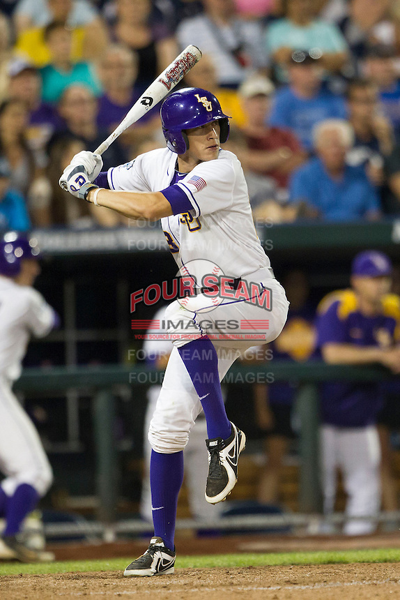 LSU Tiger second baseman JaCoby Jones (23) at bat during Game 4 of the 2013 Men's College World Series against the UCLA Bruins on June 16, 2013 at TD Ameritrade Park in Omaha, Nebraska. UCLA defeated LSU 2-1. (Andrew Woolley/Four Seam Images)