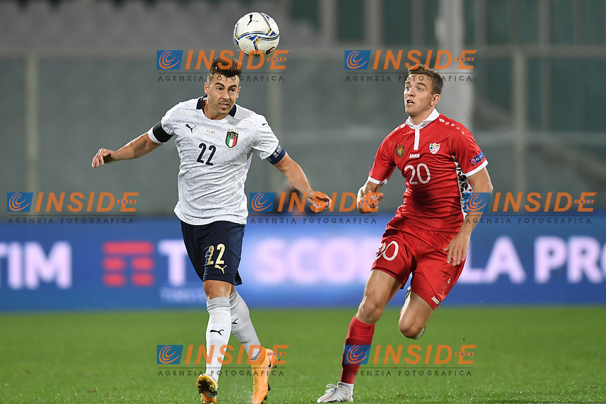 Stephan El Shaarawy of Italia and Sergiu Platica of Moldova compete for the ball during the friendly football match between Italy and Moldova at Artemio Franchi Stadium in Firenze (Italy), October, 7th 2020. Photo Andrea Staccioli/ Insidefoto