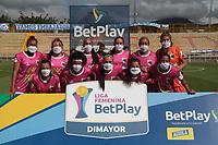 BOGOTA -COLOMBIA,16-10-2020:Jugadoras de Llaneros posan para una foto previo al partido entre Millonarios  y Llaneros por la fecha 1 de LA LIGA FEMENINA BETPLAY DIMAYOR I 2020 jugado en el estadio Estadio Metroplitano de Techo de la ciudad de Bogotá. / Players of Llaneros pose to a photo prior the match between Millonarios and Llaneros for the date 1 <br /> the wome´s league  BETPLAY DIMAYOR I 2020 played at Metropolitano de Techo stadium in Bogota city. Photo: VizzorImage/ Felipe Caicedo / Staff